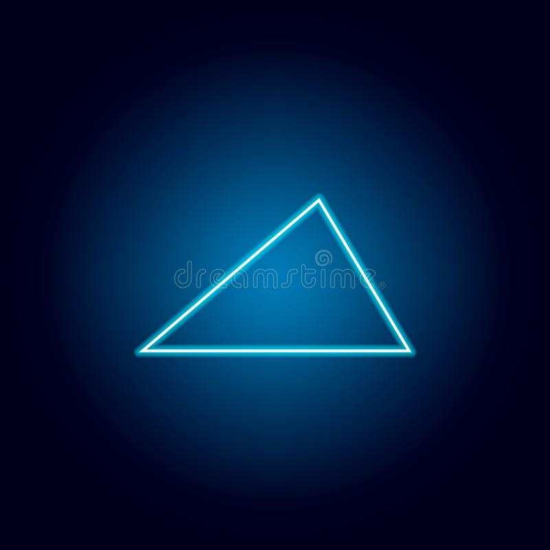 Acute triangle icon in neon style. geometric figure element for mobile concept and web apps. thin line icon for website design and. Development, app development stock illustration