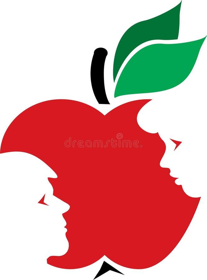 Adán, Eva y la manzana fotos de archivo