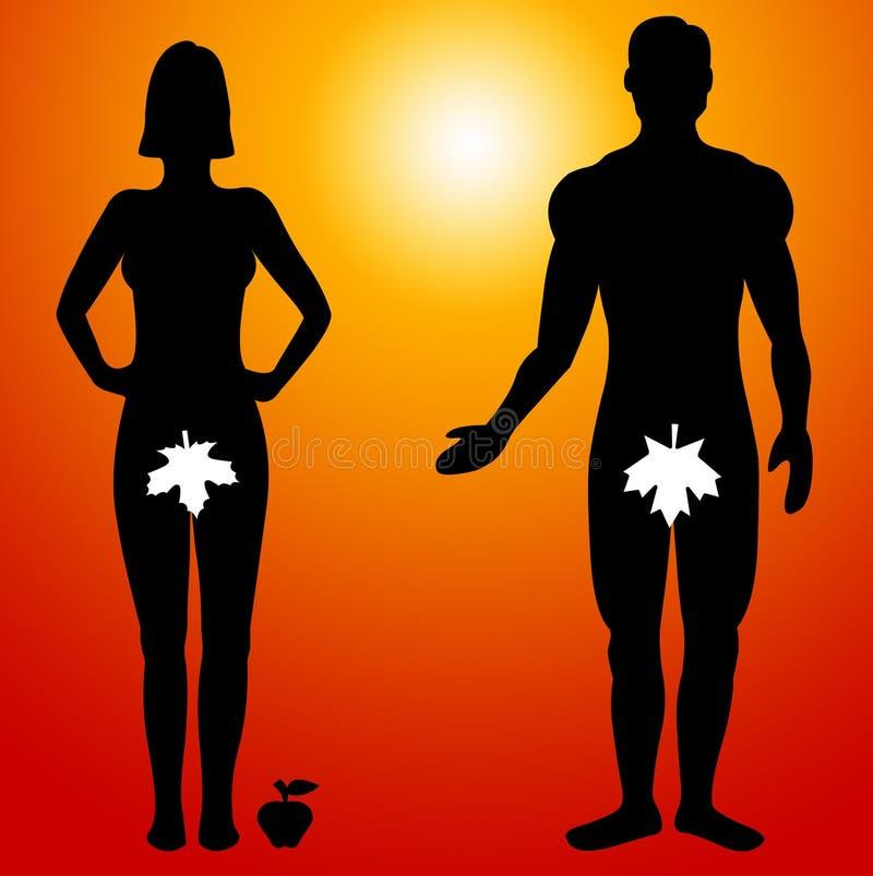 Adán y Eva stock de ilustración