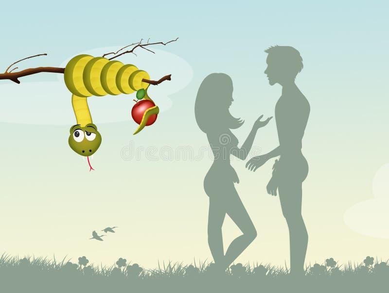 Adán y Eva en el jardín Eden libre illustration