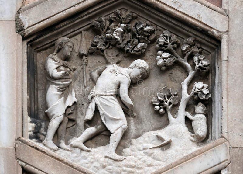 Adán y Eva que trabajan después de la caída, di Santa Maria del Fiore de Cattedrale en Florencia imagenes de archivo