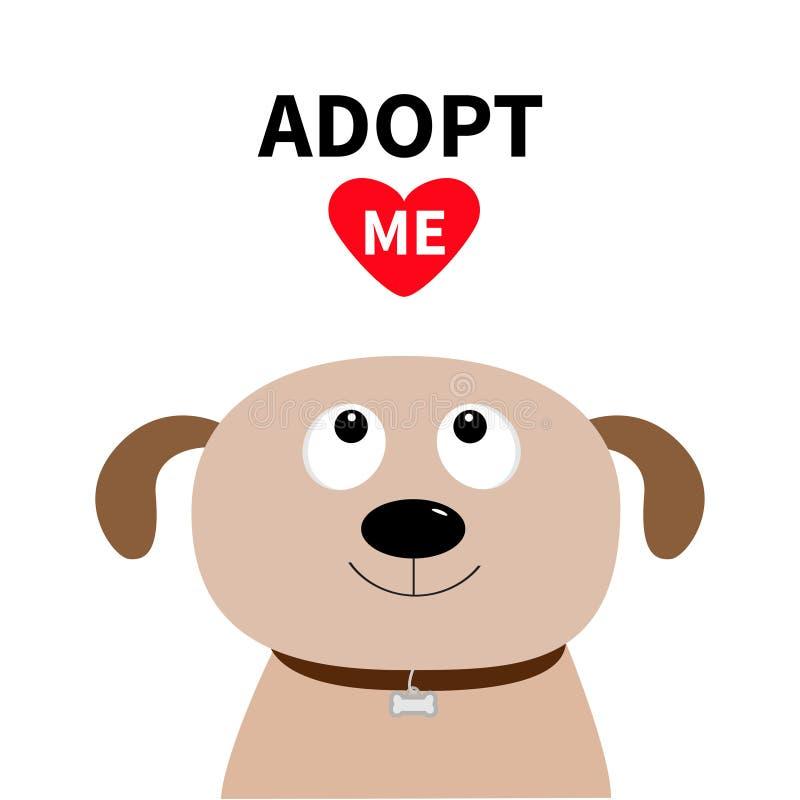 Adópteme No compre Cara del perro Adopción del animal doméstico Chucho del perrito que mira para arriba al corazón rojo Estilo pl libre illustration