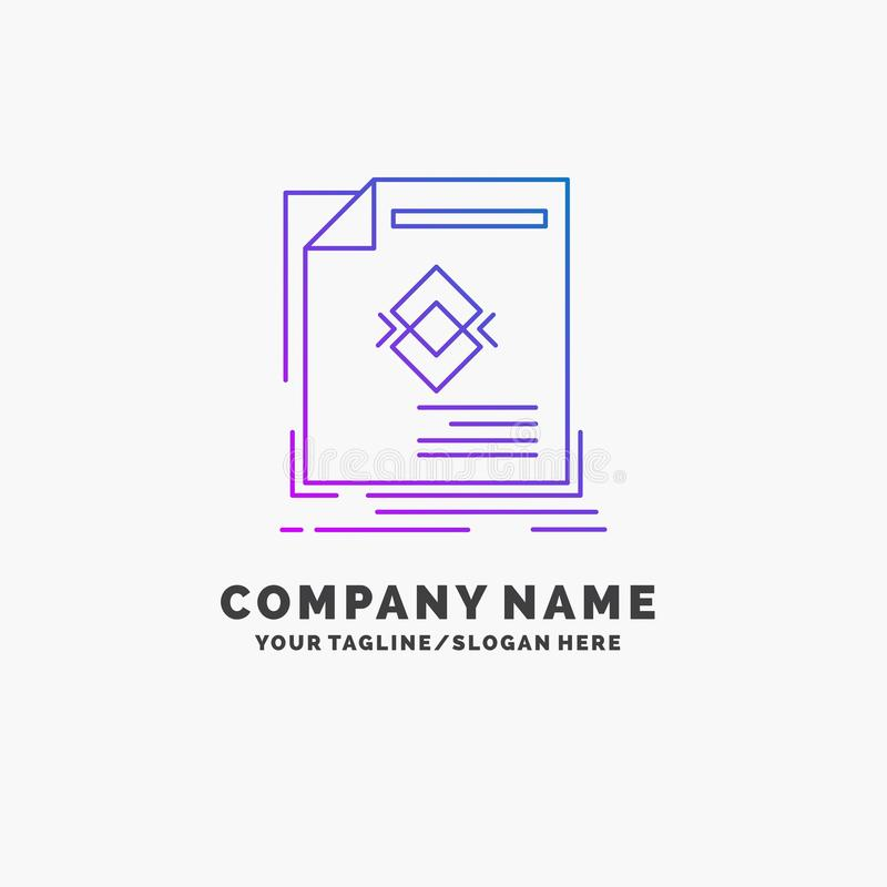 ad, advertisement, leaflet, magazine, page Purple Business Logo Template. Place for Tagline stock illustration