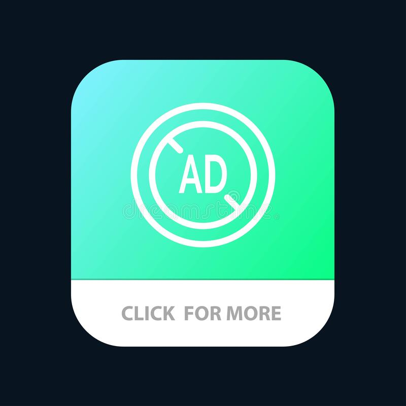 Ad, Blocker, Ad Blocker, Digital Mobile App Button. Android and IOS Line Version royalty free illustration