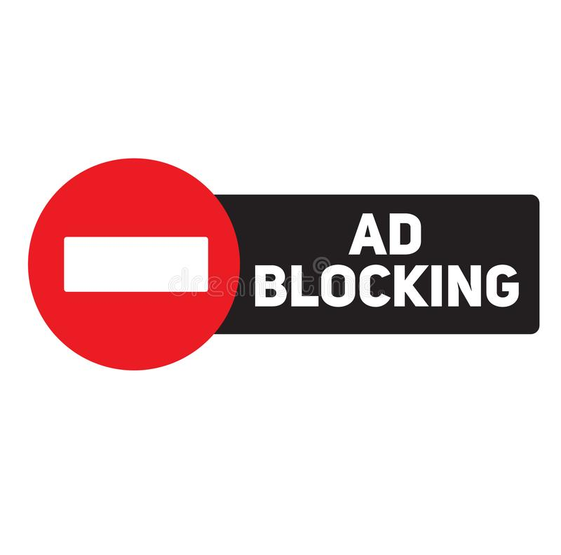 Ad blocking advertising sticker. Label, stamp on white vector illustration