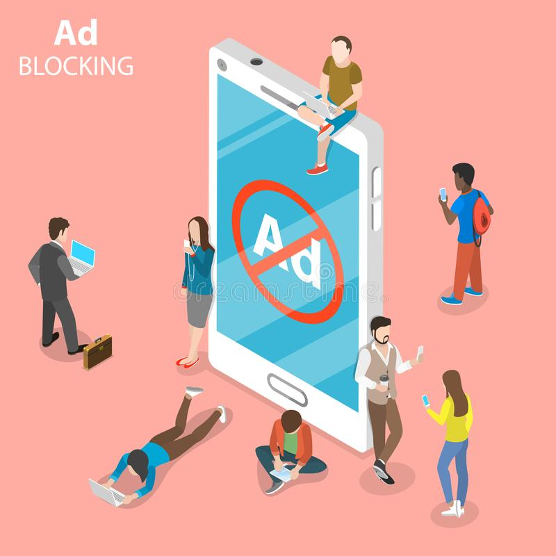 Ad blocking flat isometric vector concept. People surrounded a smartphone with sign of blocked advertisment vector illustration