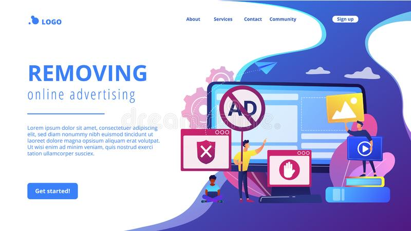 Ad blocking software concept landing page. Programmer developing anti virus program. Banned Internet content. Ad blocking software, removing online advertising vector illustration