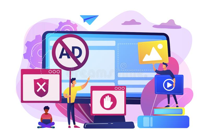 Ad blocking software concept vector illustration. Programmer developing anti virus program. Banned Internet content. Ad blocking software, removing online stock illustration