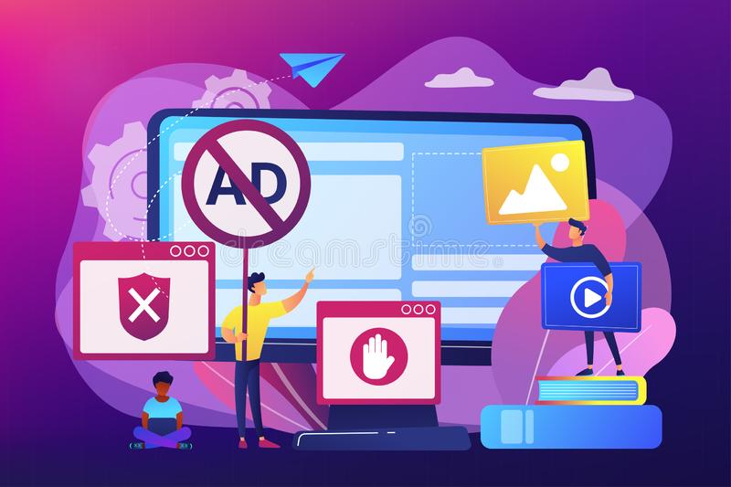 Ad blocking software concept vector illustration. Programmer developing anti virus program. Banned Internet content. Ad blocking software, removing online vector illustration
