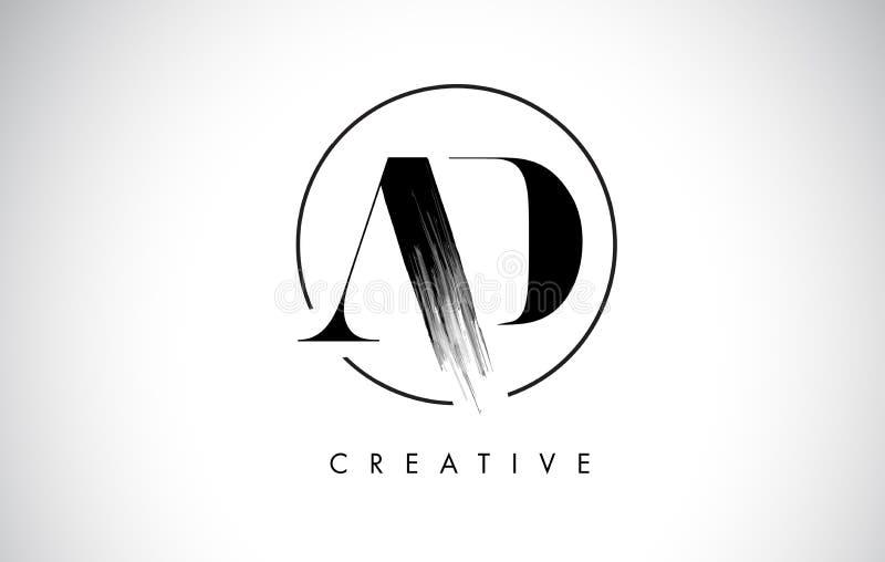 AD Brush Stroke Letter Logo Design. Black Paint Logo Letters Icon. With Elegant Circle Vector Design stock illustration