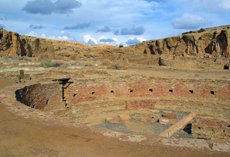 Great kiva of Chetro Ketl at Chaco Canyon stock photography