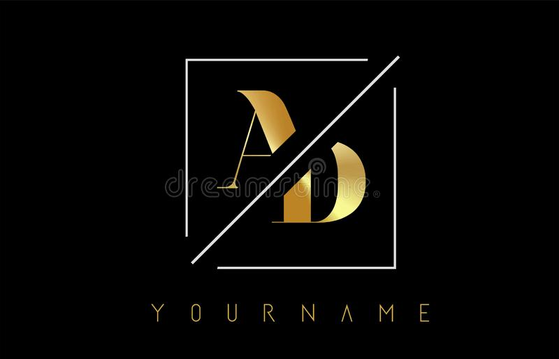 AD Golden Letter Logo with Cutted and Intersected Design. And Square Frame Vector Illustration vector illustration
