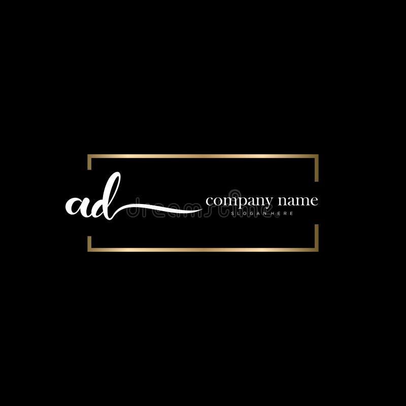 AD initial handwriting logo template vector. stock image