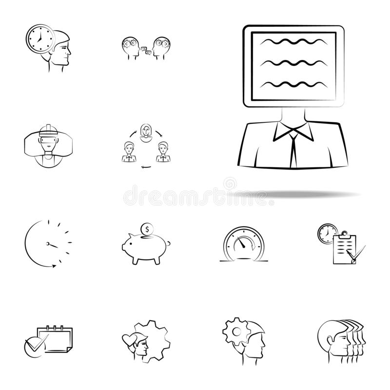 Ad, person, tv hand drawn icon. business icons universal set for web and mobile. On white background stock illustration