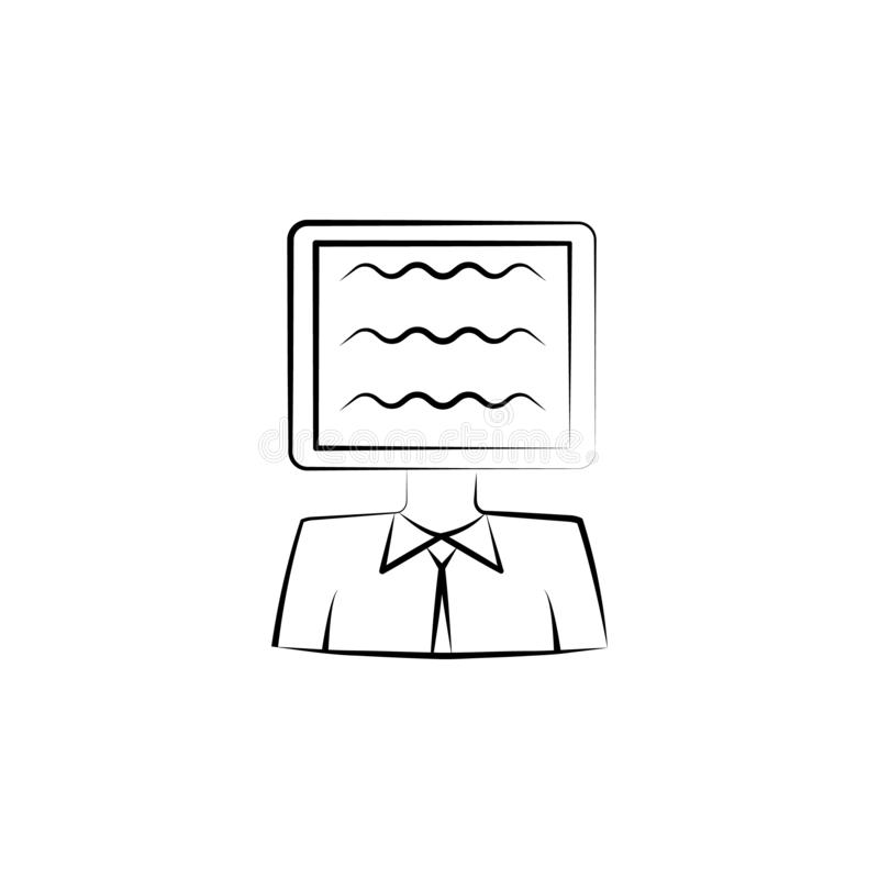 Ad, person, tv hand drawn icon. Outline symbol design from business set. On white background stock illustration