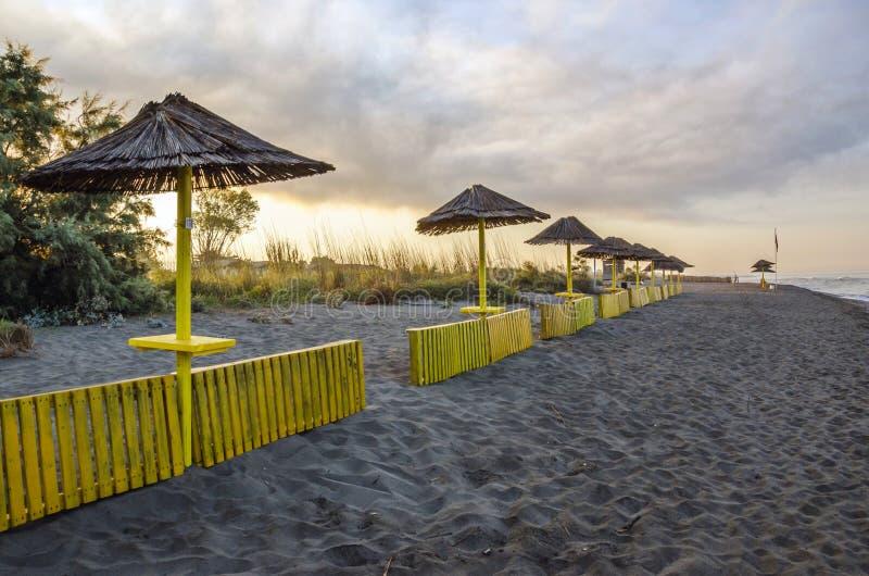 Ada Bojana beach. Early morning sunlight in Ada Bojana beach with cloudy sky, Ulcinj, Montenegro stock photo