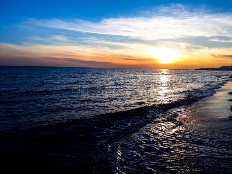 Ada Bojana, Montenegro. Sunset on the beach. stock photography