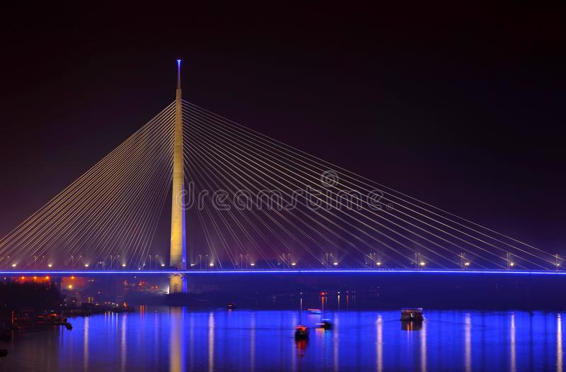 Ada bridge in Belgrade. At night making reflection stock photography