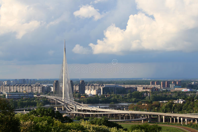 Ada bridge in Belgrade,Serbia. View from the hill stock photography