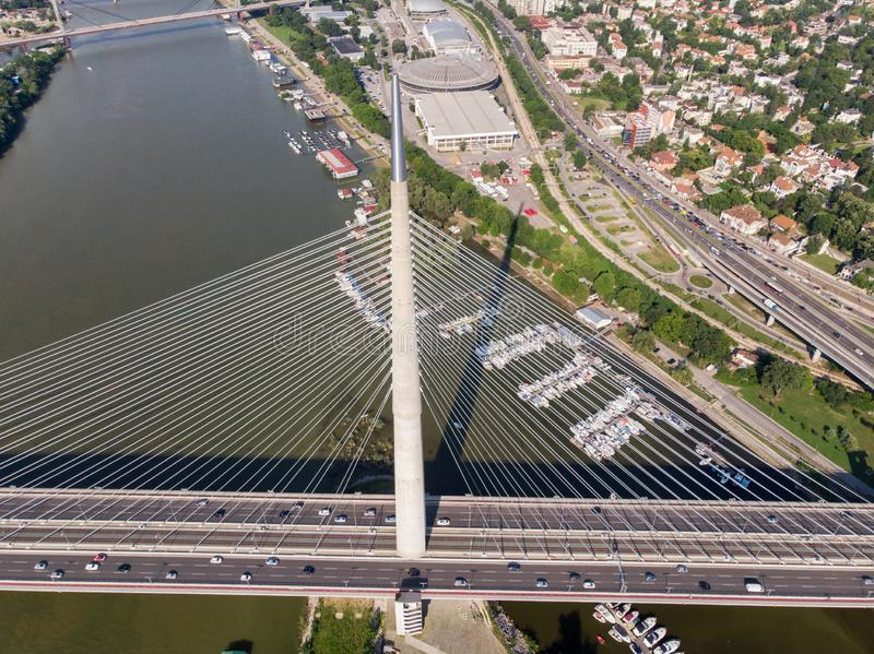 Ada bridge in Belgrade. On a sunny summer day, bride, panorama, serbia, landscape, sava, river, most, na, adi, beograd, drone, aerial, above, cable stock images