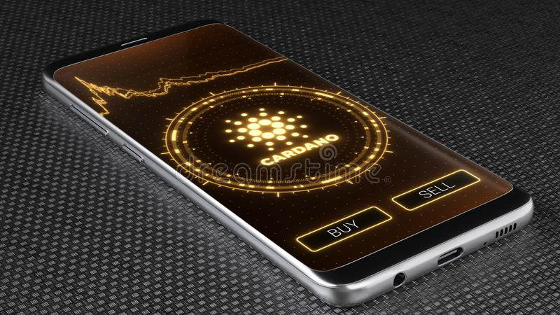 Cardano cryptocurrency symbol on mobile app screen. 3D illustration. Ada Cardano cryptocurrency symbol on mobile app screen. Price graph, buy and sell buttons royalty free illustration