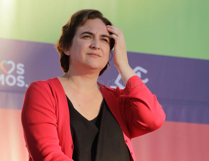Ada Colau Major of Barcelona gestures. Ada Colau gestures during a meeting in the island of Mallorca. colau is a Spanish left-wing representative and, since 13 stock image