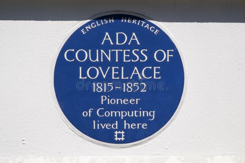 Ada Countess av Lovelace blåttplatta i London royaltyfria bilder