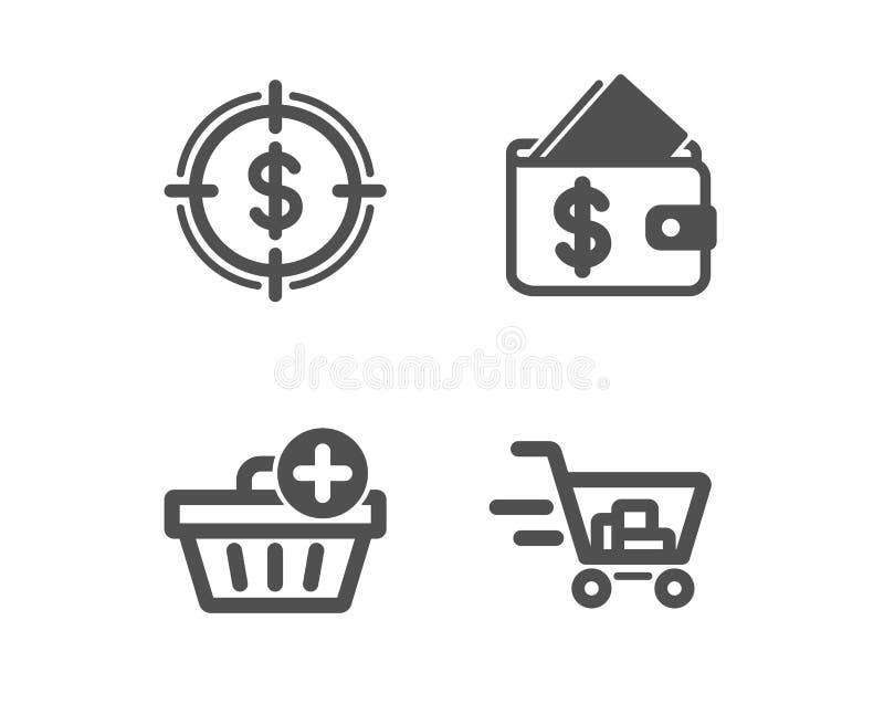 A?ada los iconos de la compra, de la blanco de la cartera y del d?lar Muestra del carro de la compra Orden de las compras, asequi ilustración del vector