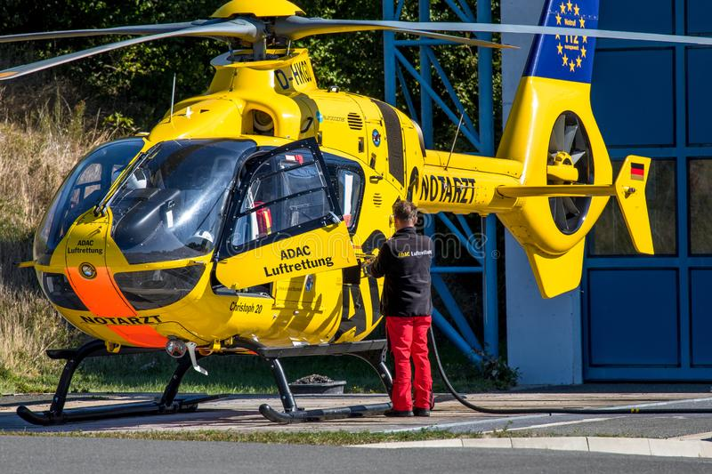 ADAC air rescue helicopter Christoph 20 Bayreuth stock image