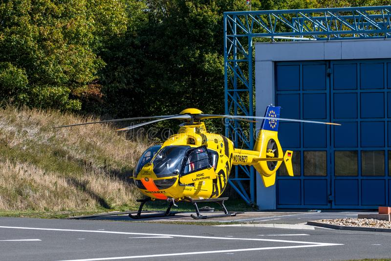 ADAC air rescue helicopter Christoph 20 Bayreuth stock photo