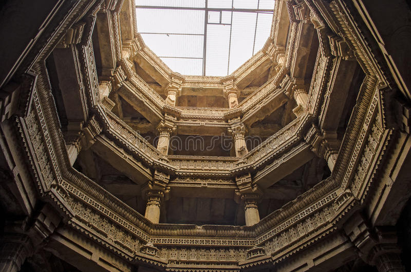 Adalaj stepwell from bottom to top view- Indian Heritage tourist. Place stock image