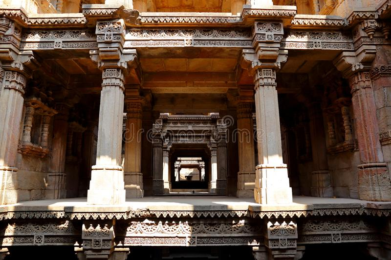 Adalaj Stepwell is a Hindu building in the village of Adalaj near Ahmedabad. In the Indian state of Gujarat royalty free stock photos