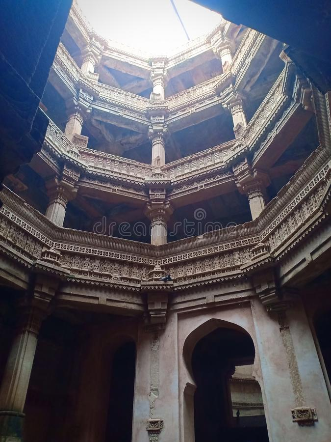 Adalaj Stepwell. This stepwell is located in Adalaj near Ahmedabad Gujarat.  This stepwell was built by then Rani Rudhabai for the peole of her village which was stock photography