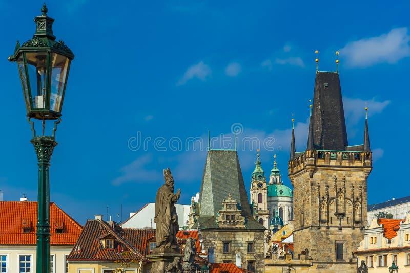Adalbert of Prague on Charles Bridge, Czechia stock image