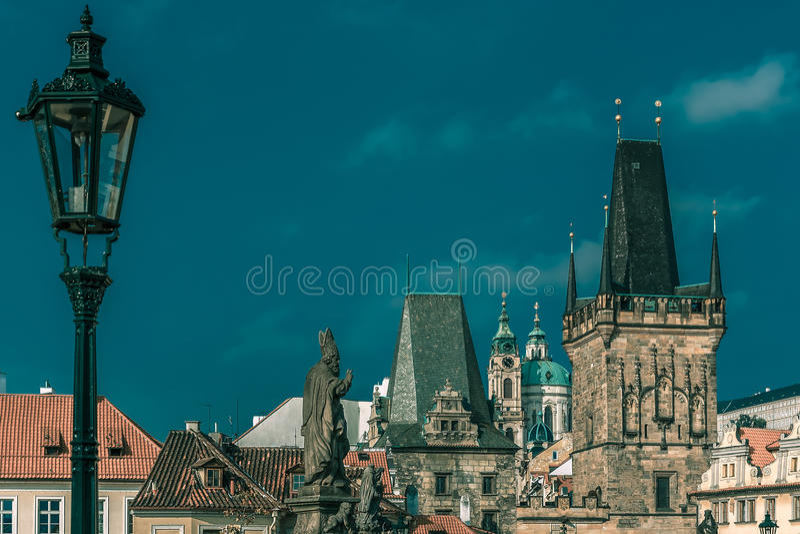Adalbert of Prague on Charles Bridge, Czechia stock photos