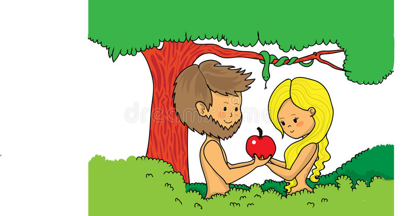 Adam και μήλο εκμετάλλευσης παραμονής ελεύθερη απεικόνιση δικαιώματος