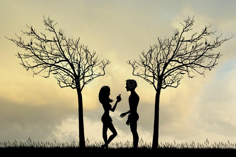 Adam και παραμονή στον κήπο Ίντεν διανυσματική απεικόνιση