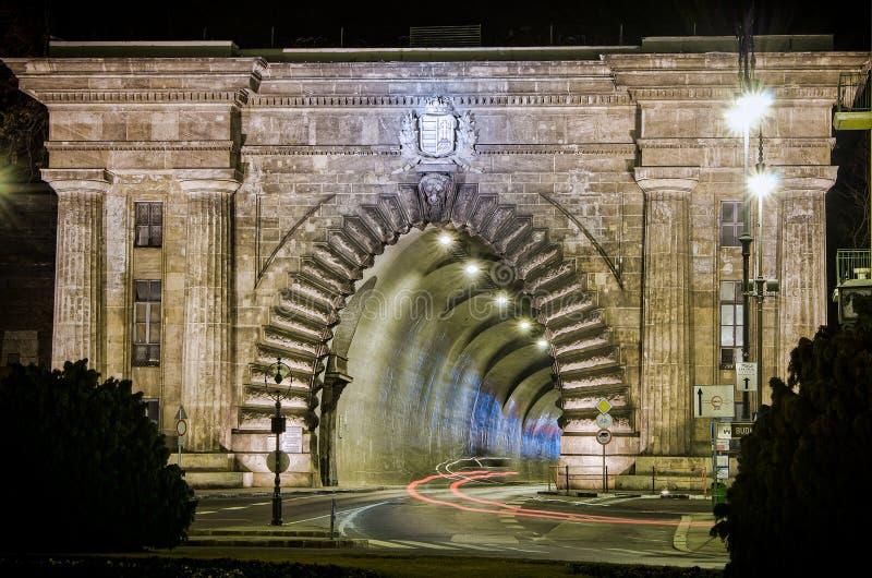 Adam Clark Tunnel Buda Castle Tunnel sous la colline de château à Budapest, Hongrie photographie stock libre de droits