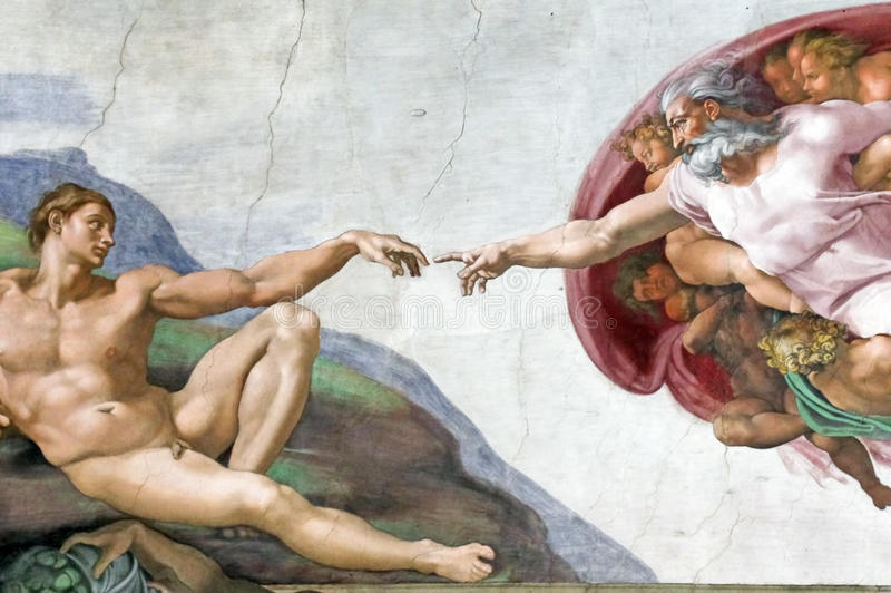 Adam Creation in Sistine Chapel stock image