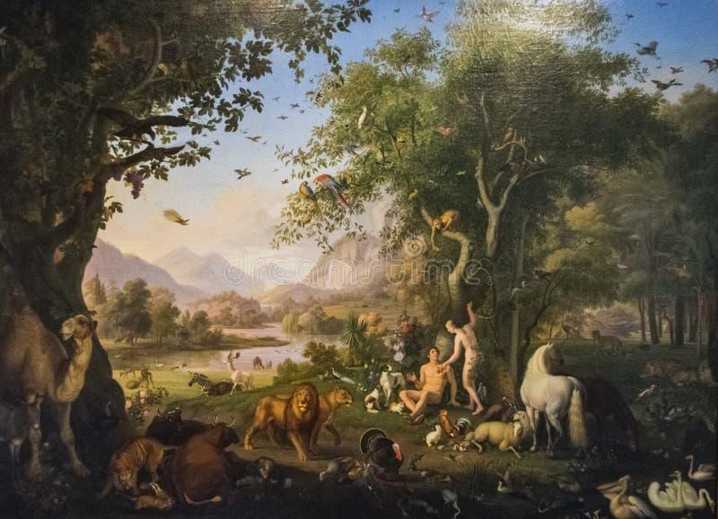 Adam de pintura original e véspera no Jardim do Éden imagens de stock royalty free