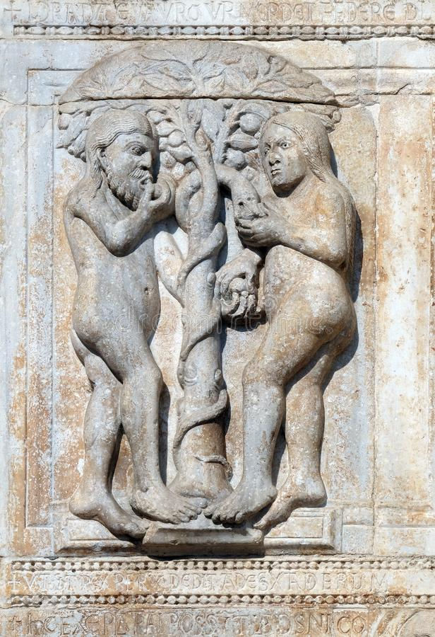 Adam e a véspera comem o fruto da árvore proibida foto de stock