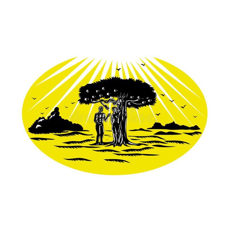 Adam en Eve Serpent Tree Woodcut royalty-vrije illustratie