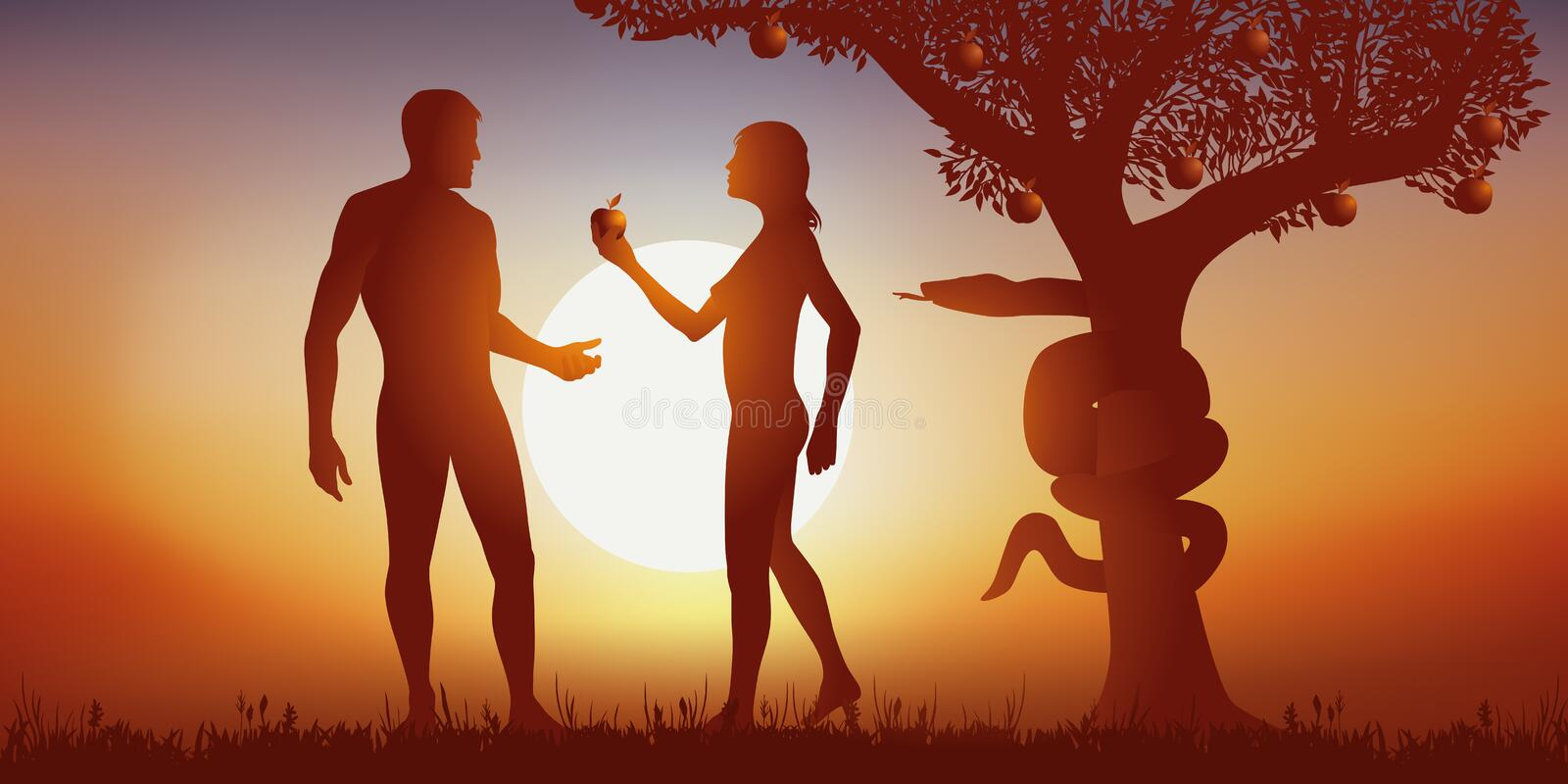 Myth of the creation of man by God with Adam and Eve at the time of crunching the apple. royalty free stock image