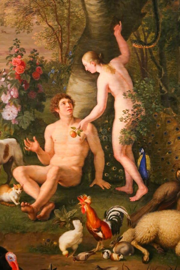 Adam and Eva - Vatican Museum. Arts of Vatican Museum in Rome, Italy royalty free stock photo