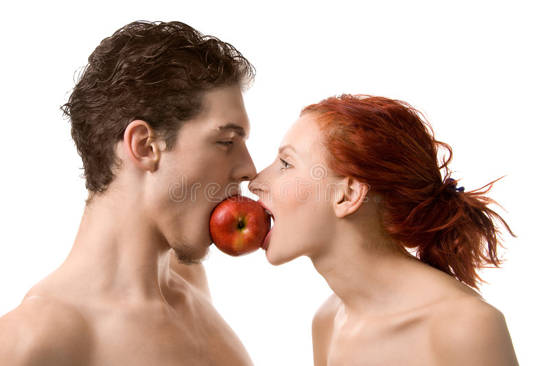 Adam and Eve. Couple biting an apple, isolated on white