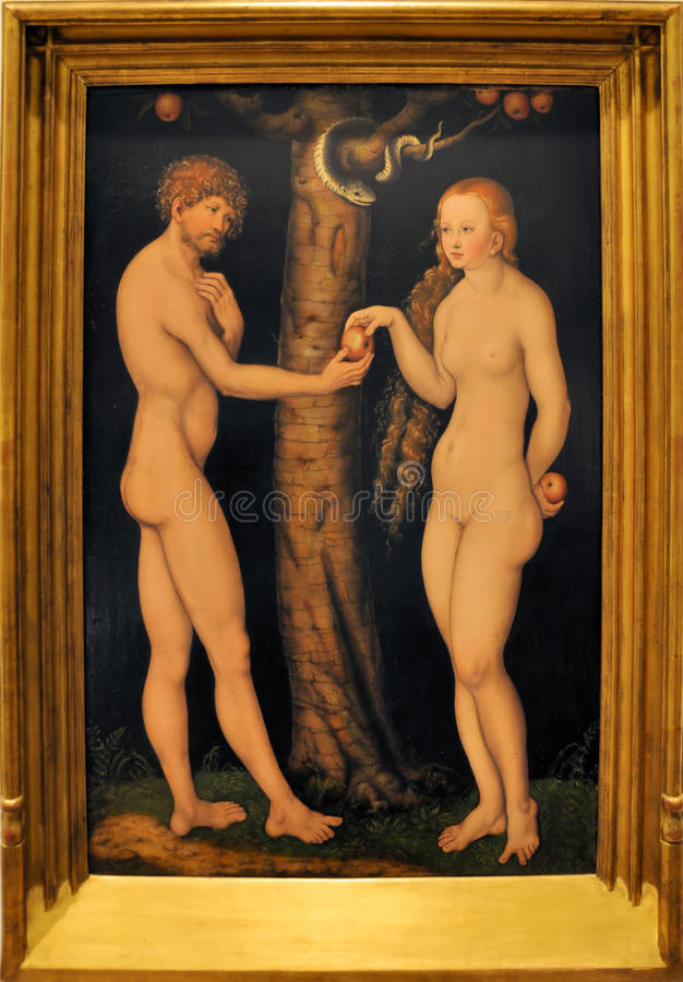 Adam and Eve. Original painting Adam and Eve. Painted by Lucas Cranach the Elder in 1520. Picture taken at Soumaya Museum Mexico City
