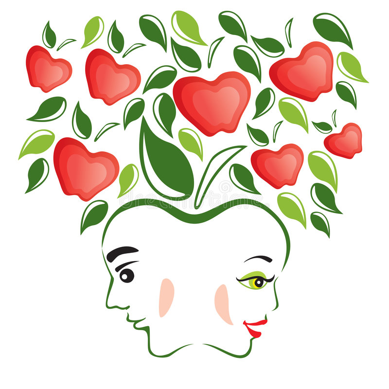 Download Adam and Eve stock vector. Image of wife, profile, white - 3574220