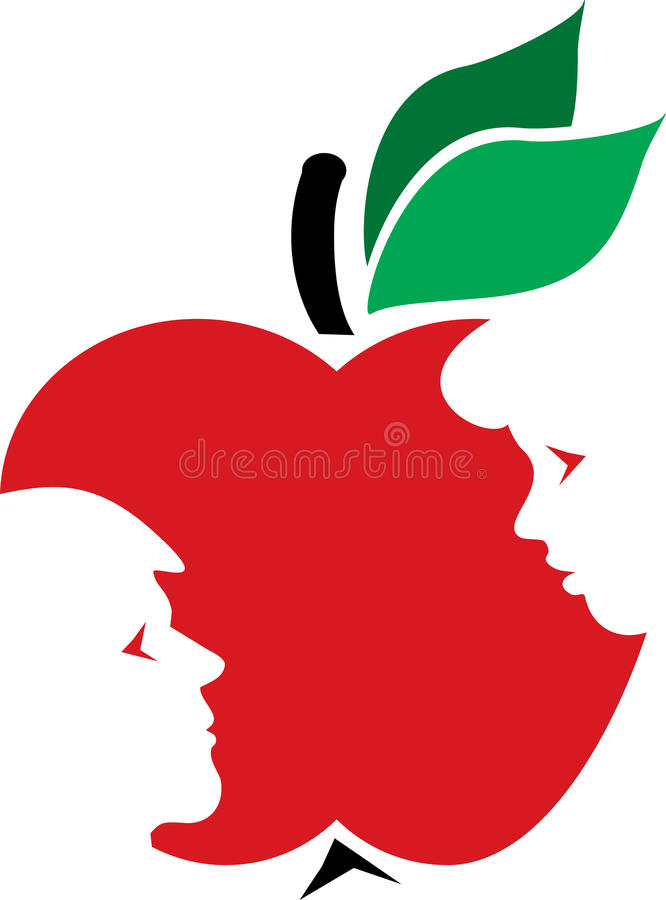 Adam, Eve and the apple royalty free illustration