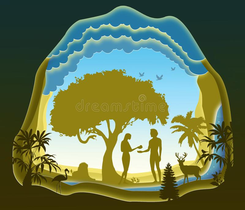 Adam and Eve. Garden of Eden. The Fall of Man. Paper art. royalty free illustration