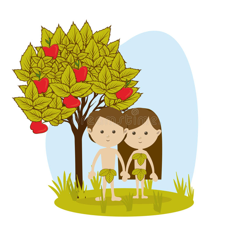 Adam and eve. Over white background vector illustration stock illustration